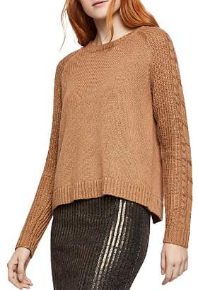 BCBGeneration Cable-Sleeve Flyaway Sweater