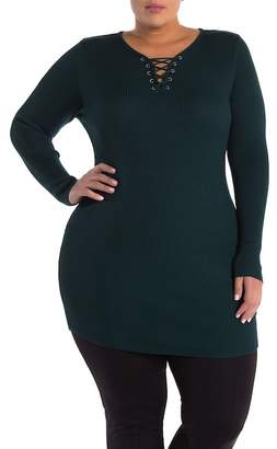 Planet Gold Lace-Up Tunic Sweater (Plus Size)