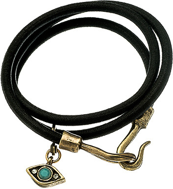 Claudia Rowe Black Bungee Turquoise and Crystal Evil Eye Wrap Bracelet