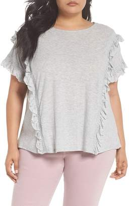 Vince Camuto Ruffle Trim Tee (Plus Size)