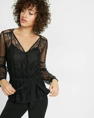 Express Lace And Mesh Semi-Sheer Surplice Blouse