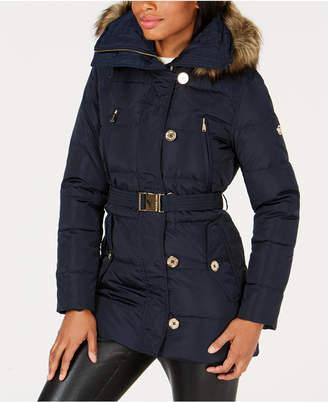Michael Kors Faux-Fur-Trim Belted Puffer Coat