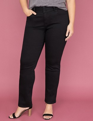 Lane Bryant Tighter Tummy Essential Stretch Straight Jean - Black