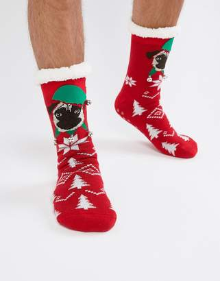 Asos DESIGN Holidays slipper socks with pug face toes & fluffy lining