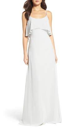 WTOO Ruffle Overlay Spaghetti Strap Chiffon Gown