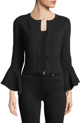 Milly Crewneck Button-Front Draped-Sleeve Cropped Knit Cardigan