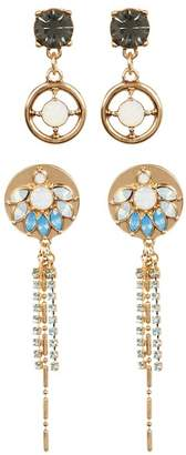 Free Press Floral Linear Earrings - Set of 2