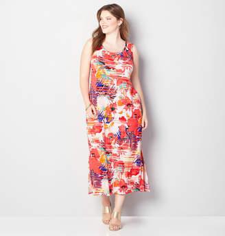 Avenue Tropical Striped Floral Maxi Dress