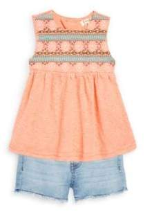 Jessica Simpson Little Girl's Two-Piece Embroidered Top and Denim Shorts Set