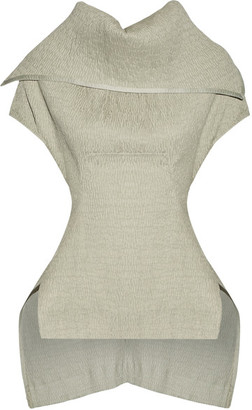 Rick Owens - Judith Stretch Linen-blend Matelassé Peplum Top - Light gray $1,030 thestylecure.com