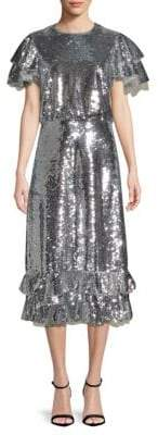 Sachin + Babi Lorelei Sequin Midi Ruffle Dress