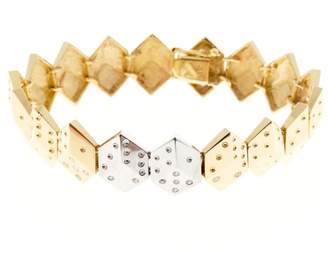 14K Yellow and White Gold with 0.30ct Diamond Dice Bracelet