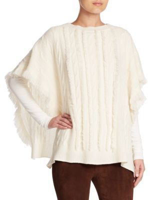 Ralph Lauren Collection Wide Cable-Knit Cashmere Poncho