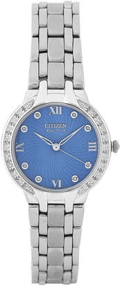 Citizen EM0120-58L Silver-Tone & Periwinkle Diamond Bella Watch