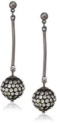 Kenneth Jay Lane Women's Gunmetal Bar Crystal Ball Drop Earrings