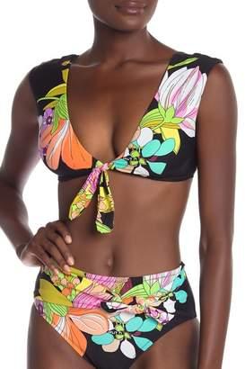 Trina Turk Bouquet Floral Cap Sleeve Bikini Top