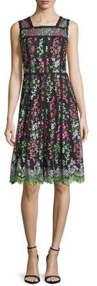Parker Sleeveless Embroidered Paneled A-Line Dress, Green/Black $348 thestylecure.com