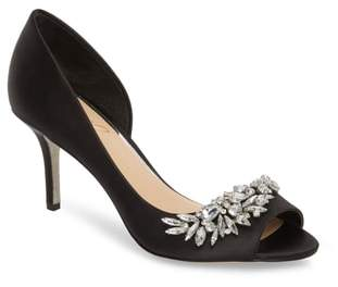 Badgley Mischka Melvina Crystal Embellished Half d'Orsay Pump