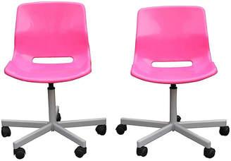 One Kings Lane Vintage Set of 2 Pink Girls Room Swvel Bucket Chairs - Something Vintage