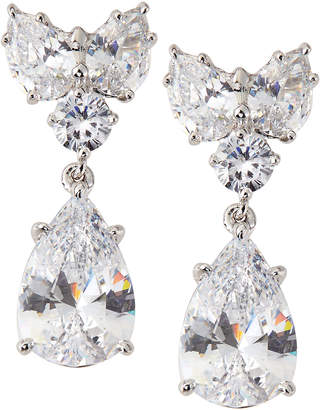 FANTASIA Cluster-Top Pear-Drop CZ Earrings