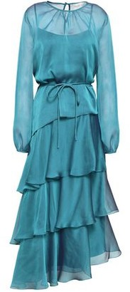 Mikael Aghal Tiered Iridescent-effect Voile Midi Dress