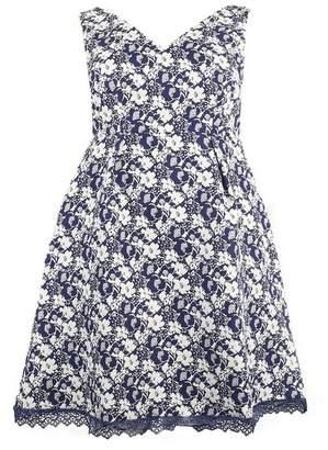 Evans Lovedrobe Blue Jacquard Skater Dress