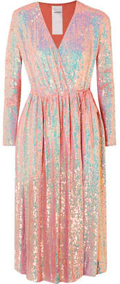 Ashish Sequined Silk-georgette Wrap Dress - Pink