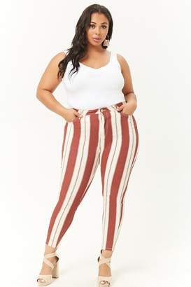 Forever 21 Plus Size Striped High-Rise Jeans