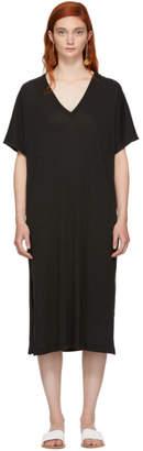 Raquel Allegra Black Boxy V-Neck Dress