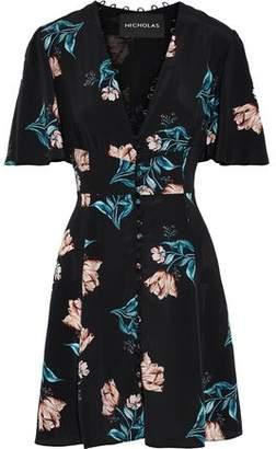 Nicholas Floral-Print Silk Crepe De Chine Mini Dress