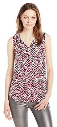 Jones New York Women's Slvlss Print Blouson Split Nk Tie Top