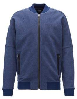 BOSS Hugo Zippered sweatshirt in heathered denim-effect terry cotton XL Open Blue