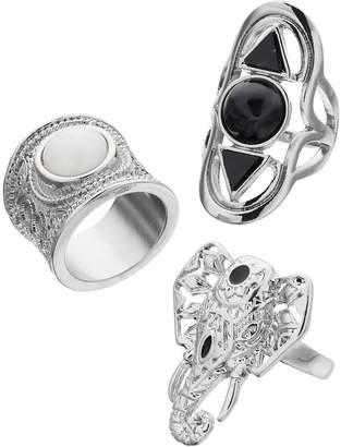 Mudd Openwork Elephant & Geometric Shield Ring Set