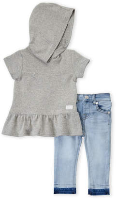 7 For All Mankind Infant Girls) Two-Piece Hooded Peplum Top & Skinny Jeans Set