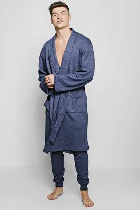 boohoo Navy Dressing Gown And Jogger Lounge Set