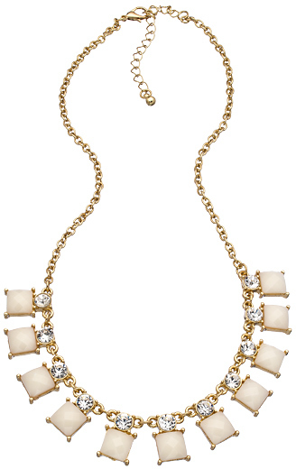Blu Bijoux White Geometric Mini Bib Necklace