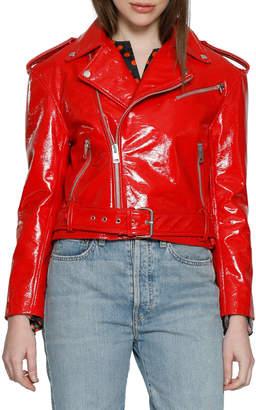 Walter Baker Chrystal Buckle Leather Moto Jacket