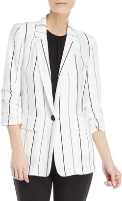 Lush Stripe Three-Quarter Sleeve Blazer