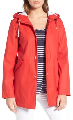 Women's French Connection Side Zip Hem Hooded Slicker $99 thestylecure.com