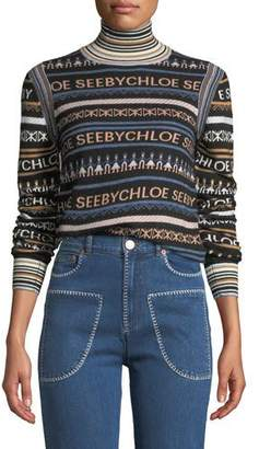 See by Chloe Striped Logo Turtleneck Pullover Sweater