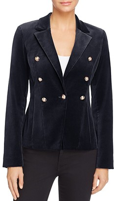 AQUA x Maddie & Tae Velvet Gold Button Blazer - 100% Exclusive $148 thestylecure.com