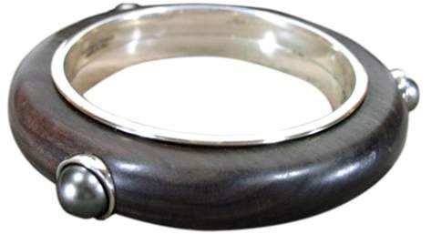 Bottega VenetaBottega Veneta Wood, Sterling Silver and Hematite Bracelet