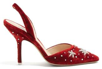 Crystal Embellished Velvet Slingback Pumps - Womens - Red