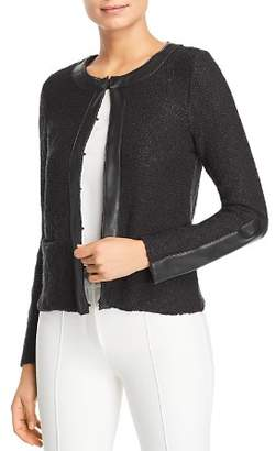 Donna Karan Faux Leather Trim Cardigan