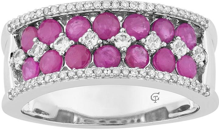 10k White Gold Ruby & 1/6 Carat T.W. Diamond Double Row Ring