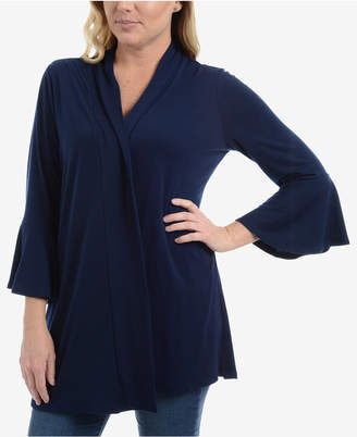 NY Collection Bell-Sleeve Open-Front Cardigan