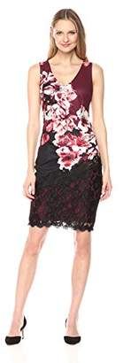 Jax Women's Floral Print Lace Detail Midi Sheath