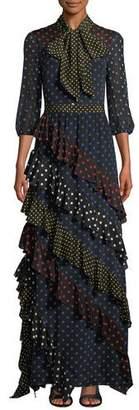 Alice + Olivia Lessie Tie-Neck Blouson-Sleeve Ruffle Dress