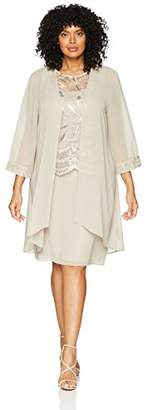 Le Bos Women's Size Duster Embroidered Jacket Dress Plus
