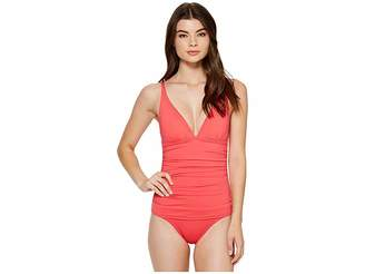 Tommy Bahama Pearl Over-the-Shoulder V-Neck One-Piece Swimsuit Women's Swimsuits One Piece